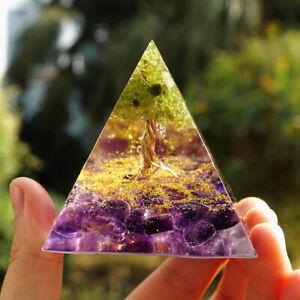 Tree of Life Peridot Healing Crystal Protection Meditation Yoga Pyramid Orgonite