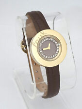 Fcuk Time F2V357 Gold Tone Case Crystal & Purple Dial Leather Band Womens Watch