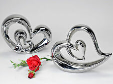 Moderno Corazón decorativo hecho de cerámica plata altura 26cm