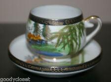 HAYASI KUTANI GOLD AND COBALT BLUE TRIM DEMI SET CUP WITH GEISHA LITHOPHANE EX