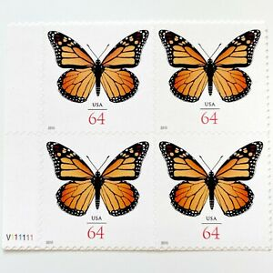 US #4462 MONARCH 64c (2010) - Block of 4 Butterfly Stamps w Plate Number NEW!