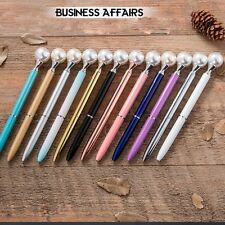Fashion Queen Pearl Scepter Metal Ballpoint Pen Material Escolar Bolis Escolares