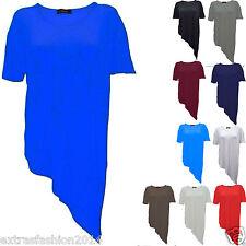 Women's Ladies Wrap Asymmetric Drape Ruched Party Side Split Batwing T Shirt Top