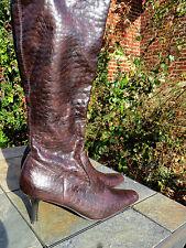 RAMPAGE Cowboy ALLIGATOR Croc Dominatrix High Heels Boots Womens Shoes Size 6.5