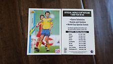 1994 UPPER DECK WORLD CUP RARE HOTLINE SCHEDULE CARD STEFAN REHN SWEDEN SGA
