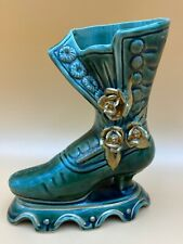 """Vintage 7"""" Victorian Boot ~ Ceramic Planter Green w/ Gold Tone Floral Accents"""