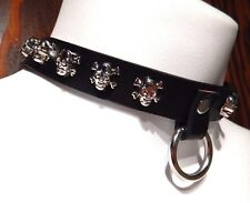 BLACK SKULL STUDDED COLLAR choker vinyl faux leather punk biker necklace goth O5