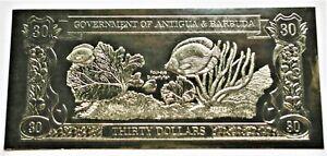 Butterfly Fish & Sea Fan - 1981 Antigua & Barbuda $30 Gold Banknote - 23k