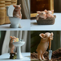 Pig Figurines Miniatures Fairy Garden Micro Resin Craft Cute Ornament Gift Decor