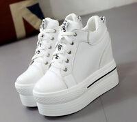 Women Casual High Hidden Heel Wedge Platform Round Toe Muffins Sneakers Shoes