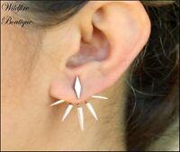 Stunning Geometric Spike Cluster Earring Jackets Earrings in Silver & Gold