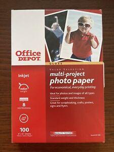 Multi-Project Photo Paper 4x6 100 Sheets Pack Inkjet Gloss Office Depot 8 mil