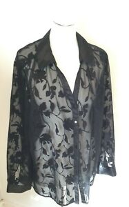 B&M Sheer Embossed Black Ladies Party Over Blouse Occasion Long Sleeve UK22