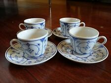 8 pc Vintage KAHLA  GDR BLAU SAKS BLUE STRAW FLOWER demitasse CUP and SAUCER SET