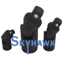 "New 3 Pc Swivel Universal Air Impact Joint Sockets Set 1/4 3/8 1/2"""