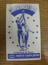 1976/1977 Tarjeta de accesorio de baloncesto: at Madison Square Garden, baloncesto universitario