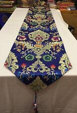Tibetan silk brocade blue norbu design shrine table cloth / with blessed tassels
