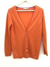 Boden Fine Pure Cashmere Orange Cardigan Size UK 10
