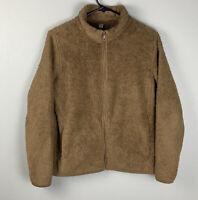 Uniqlo Brown Full Zip Sherpa Jacket Womens M Medium