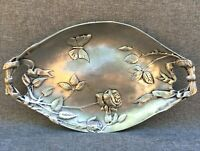 Heavy antique Art Nouveau tray early 1900's France pewter butterfly flowers