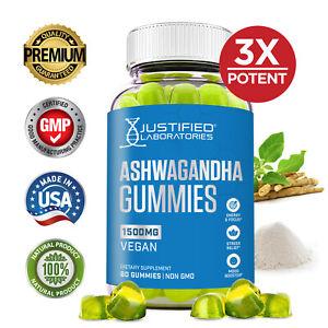 Ashwagandha Gummies 1500MG Vegan Calm Mood Relaxation Sleep Aid Ashwaganda 60 Ct