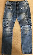 Embellish Men's Jeans NYC 36 X 34 Blue Biker Moto Denim