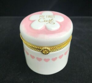 My First Curl Pink and White Hinged Porcelain Box made by CR Gibson
