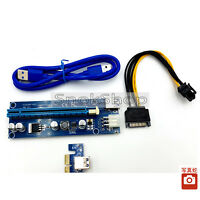 PCI-E EXPRESS 1x to 16x RISER CARD ADAPTER + USB 3.0 EXTENDER CABLE for mining