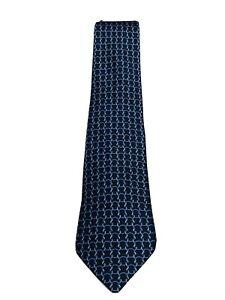 HERMES Paris Blue 100% Silk Chain Pattern Tie
