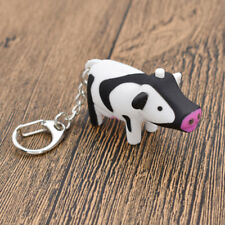 Lovely Cow Key Chain with LED Light Animal Sound Keychain Novelty Keyring Gift