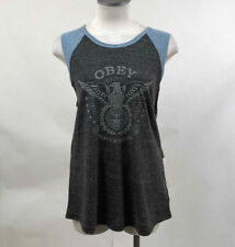 Obey Women's Muscle Tank Top Peace and Justice Eagle Charcoal/Blue Size S NWT