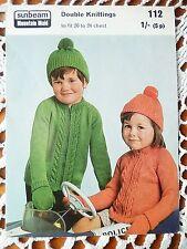 Vintage Sunbeam Mountain Maid Knitting Pattern 112 - Zip Cardigan Hat Gloves