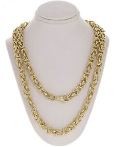 """14k Yellow Gold Turkish Link Chain Necklace 22"""" 7mm 75 grams"""