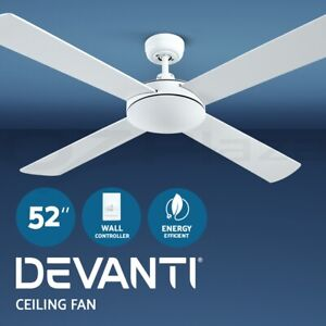 Devanti 52'' Ceiling Fan Fans 1300mm Wall Controller 4 Blades Cooling White