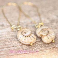 Gold Sandy Rustic Ammonite Earrings Simple Lovely Beach Style Wedding