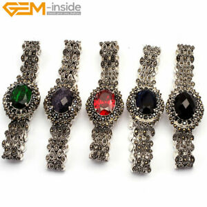 "Tibetan Silver Marcasite Oval Faceted Fashion Jewelry Bracelet 7"" Gift For Women"