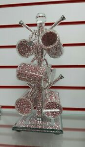 BLING CRUSHED DIAMOND PINK CRYSTAL MUG TREE HOLDER & 6 CRUSHED DIAMOND MUGS!