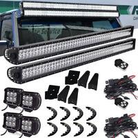 """2Pcs 52"""" LED Light Bar +4x 4"""" 18W LED Work Fog Light Bar For Jeep Wrangler JK"""