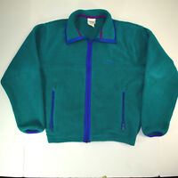 NWOT vtg 80s LL Bean Fleece Full Zip Up Jacket Sz Medium Light Weight Teal Color