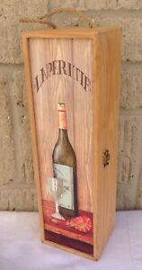 ONE BOTTLE WOODEN WINE BOX CASE ~ COUNTRY KITCHEN SHABBY CHIC