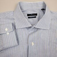 Marc Anthony Men's Dress Shirt 17 1/2 34/35 Slim Fit Spread Striped Blue White