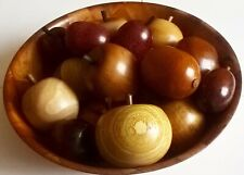NEW DESIGNER HAND CARVED 16 PIECES OF WOODEN FRUIT IN A BOWL APPLES,PEARS,PLUMS