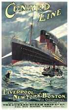 VINTAGE CUNARD LINE LIVERPOOL NEW YORK A4 POSTER PRINT