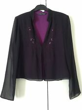 Laura Ashley Sheer Black Silk Top, Fuschia Lining & Embroidery Sequin Detail, 12