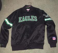 Mitchell & Ness Philadelphia Eagles NFL Satin Jacket Black Pockets Men's Large