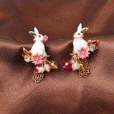 Boucles d`Oreilles Clous Doré Email Lapin Blanc Perle Multicolore Fleur Fin L6