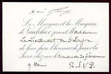 Bourgeoisie.Noblesse.carte d'invitation.Le Marquis et la Marquise de Vaulchier