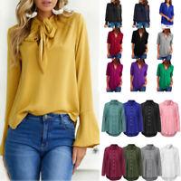 Women Ruffles Long Sleeve Chiffon T-Shirt Tops Loose Casual Blouse Shirt S-5XL