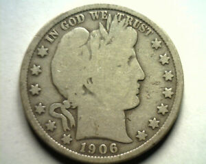 1906-O BARBER HALF DOLLAR VERY GOOD VG NICE ORIGINAL COIN BOBS COINS FAST SHIP