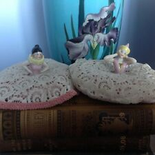 More details for two 1920's, china pincushion dolls. clowns. vintage sewing items